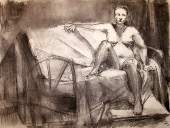 Female Nude Reclining, Charcoal