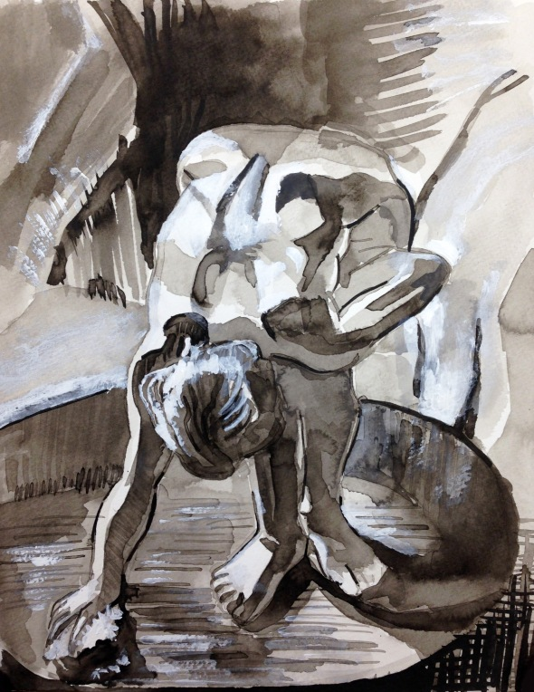"""After Degas"", ink and white gouache on paper, 2018"