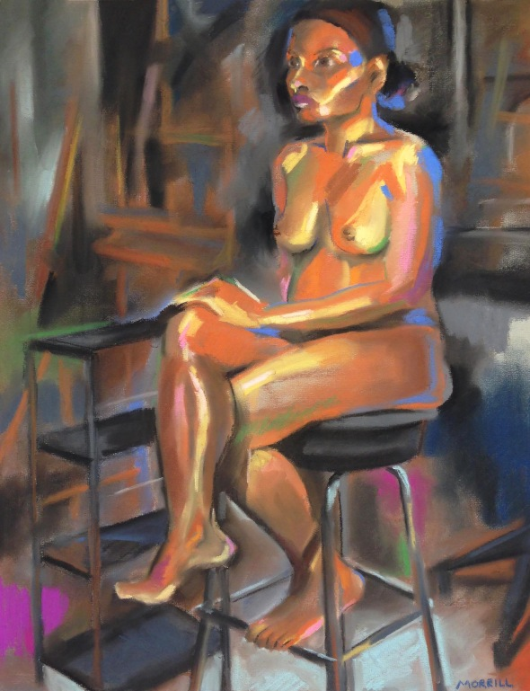 """Figure on Stool"", pastel on toned paper, 2018"