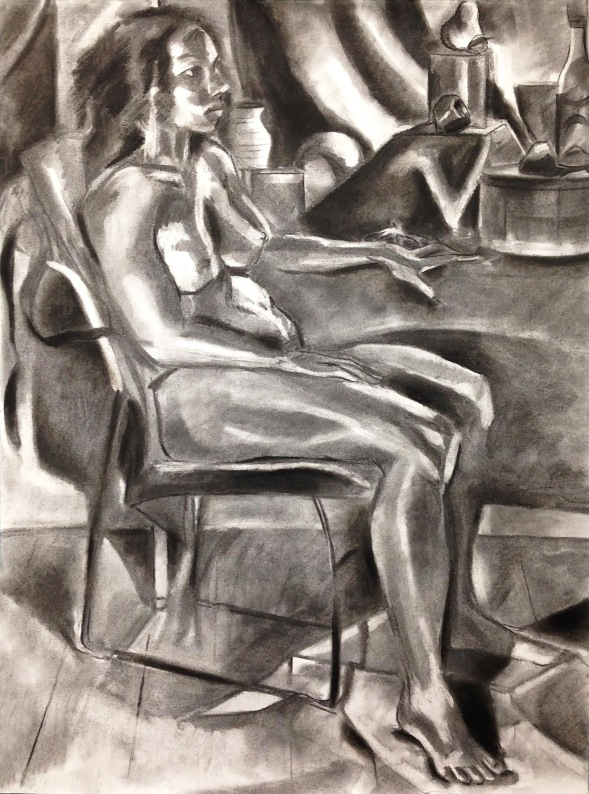 """Figure on Chair"" charcoal on paper, 2018"