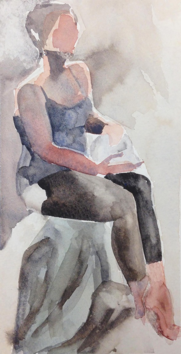 """Stephanie with Skull"" watercolor on paper, 2018"