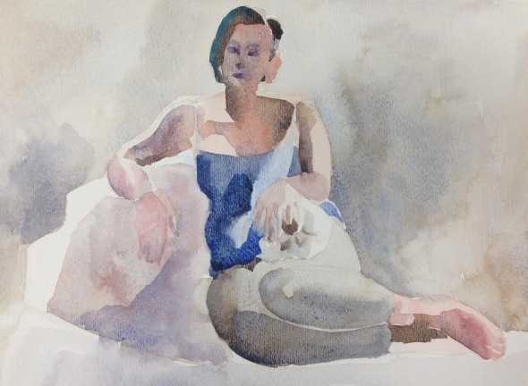 """Stephanie with Skull, Reclining"" watercolor on paper, 2018"