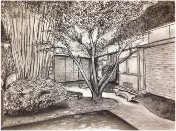 """Landscape"", Composition. Drawing I. Charcoal on Paper, Spring 2016."
