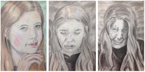 Triptych 1.  Dr.Jekyll, colored pencil on paper, color 2.  Transitioning into/out of Mrs.Hyde, colored pencil and graphite on paper, limited color  3.  Mrs. Hyde, graphite on paper, monochrome Identity, Drawing II, Spring 2018.