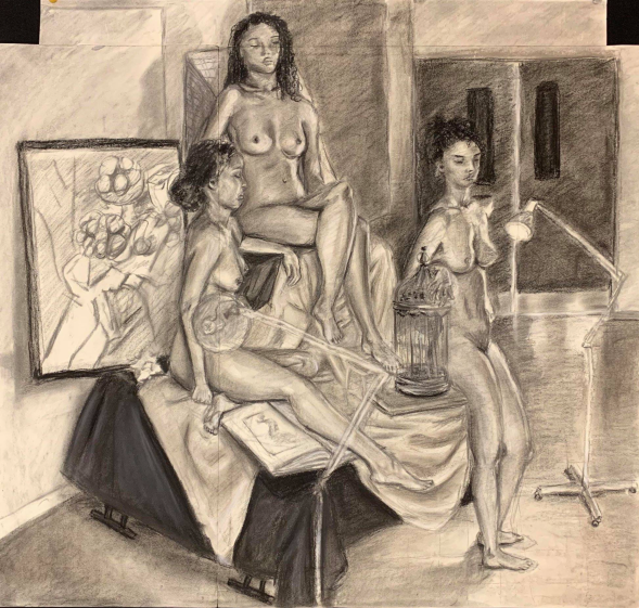 """Three Alexandrias"" imagined figural spaces, Figure Drawing, charcoal on paper, Fall 2018"